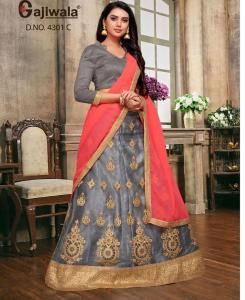 Embroidered Satin Gray Circular Lehenga Choli