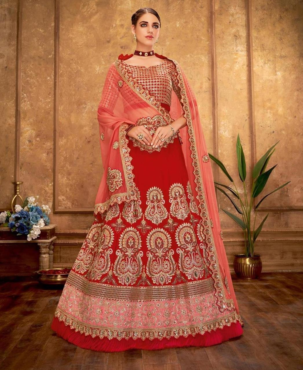 Embroidered Silk Red Circular Lehenga Choli