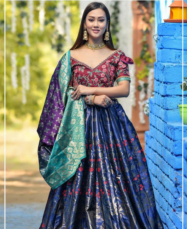 Resham Silk Lehenga in Maroon