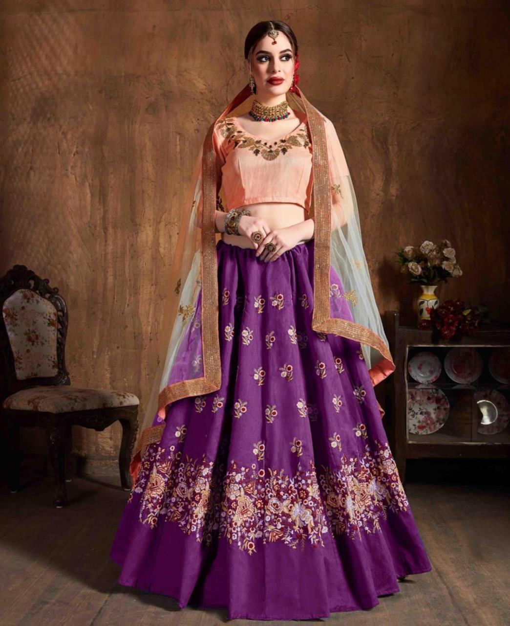 Thread Silk Lehenga in Purple