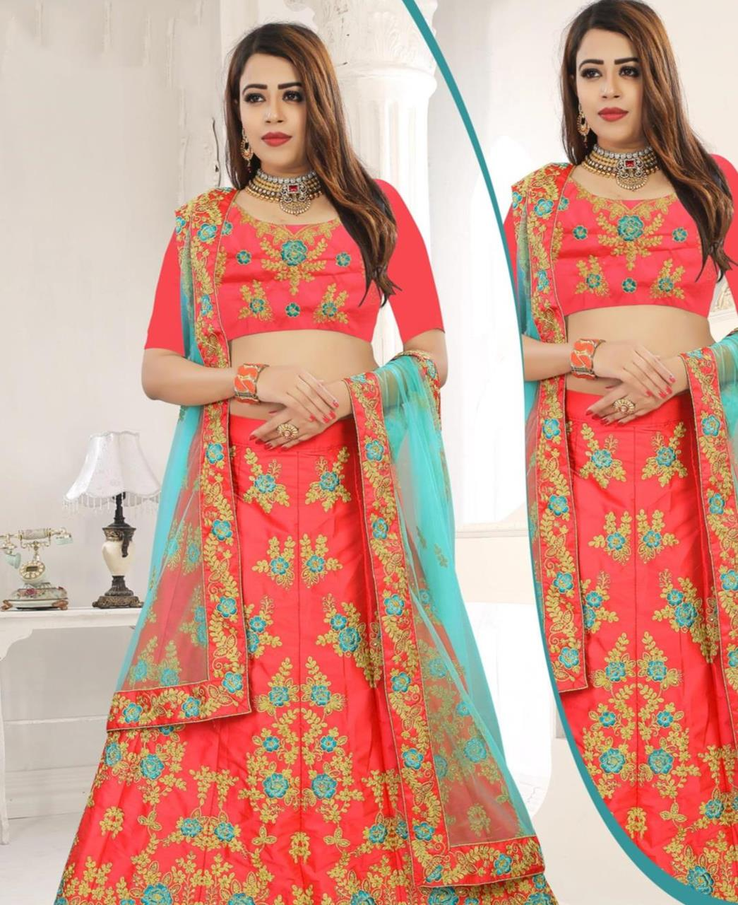 Embroidered Silk Pink Circular Lehenga Choli Ghagra