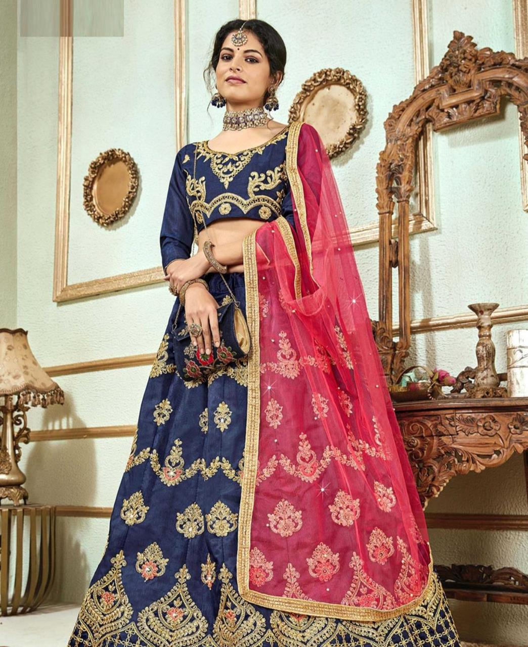 Stone Work Satin Lehenga in Blue
