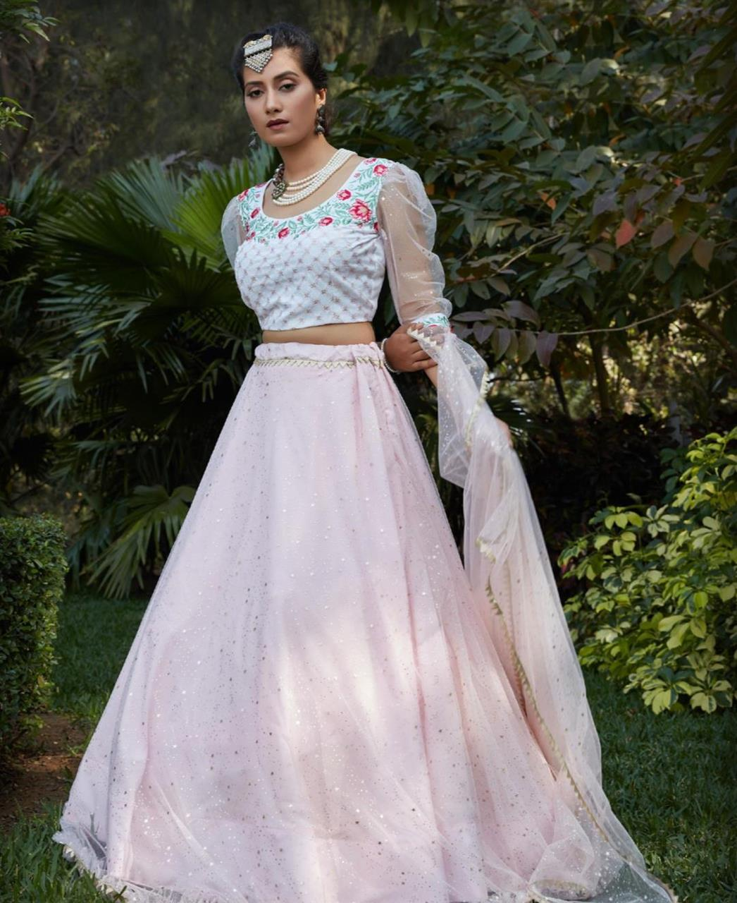 Sequins Cotton Lehenga in White