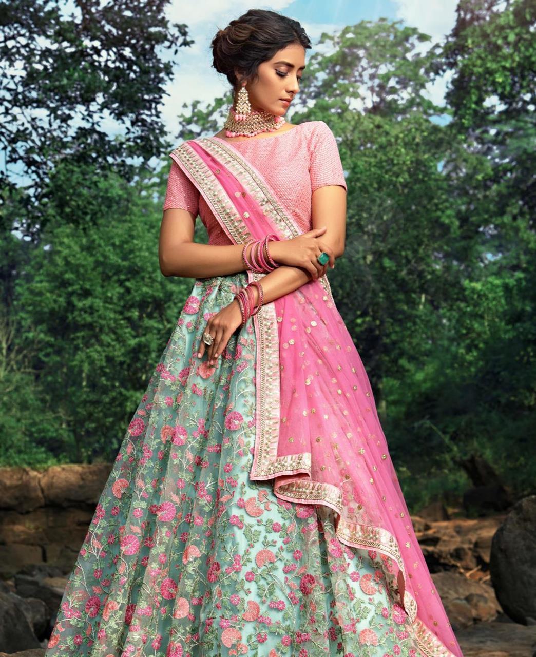 Thread Net Lehenga in Pink