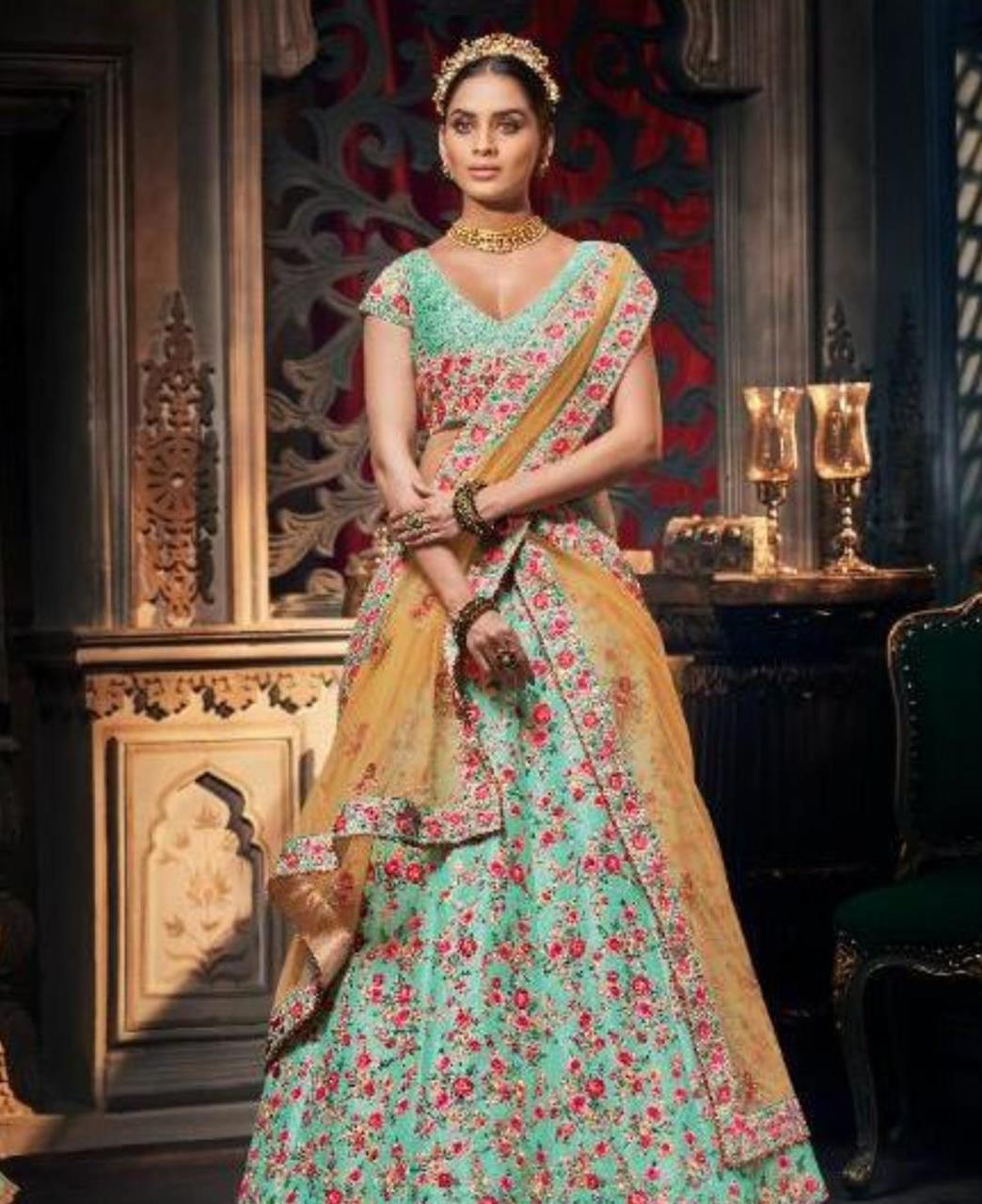 HandWorked Silk Lehenga in Aqua
