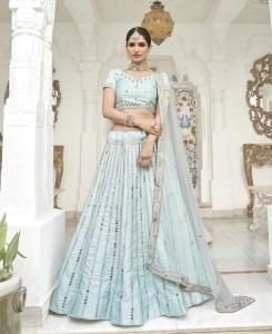 HandWorked Silk Lehenga in Ice Blue