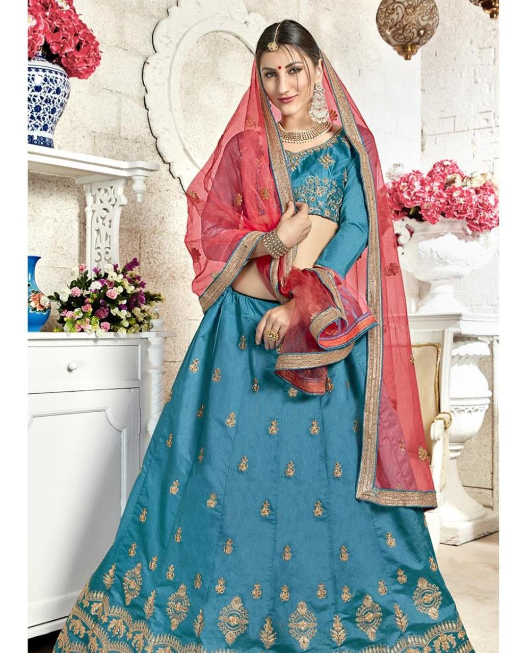 Embroidered Bangalore Silk SKYBLUE Circular Lehenga Choli Ghagra