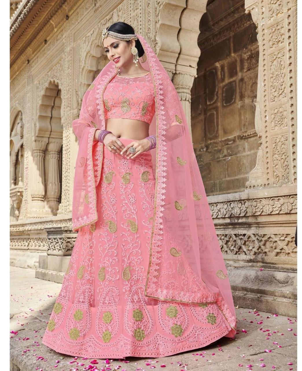 Embroidered Net Pink Circular Lehenga Choli Ghagra
