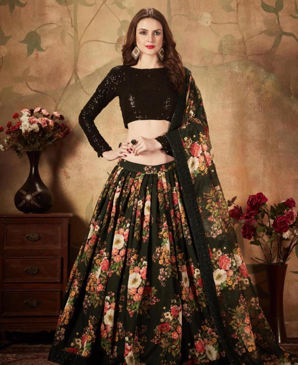 Printed Georgette Lehenga in Black