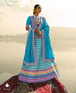Stone Work Silk Lehenga in Sky