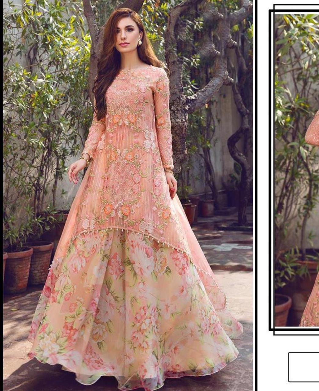 Printed Georgette Lehenga in Peach