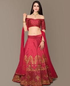 Sequins Bangalore Silk Red Circular Lehenga Choli