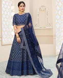 Thread Net Lehenga in Nevy Blue