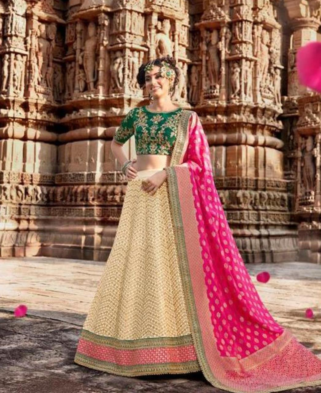 HandWorked Silk Lehenga in Bottel Green