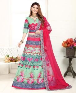 Lace Satin Lehenga in Green  ,  Pink