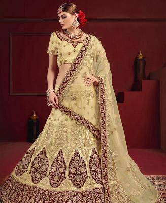 Embroidered Satin Beige Circular Lehenga Choli