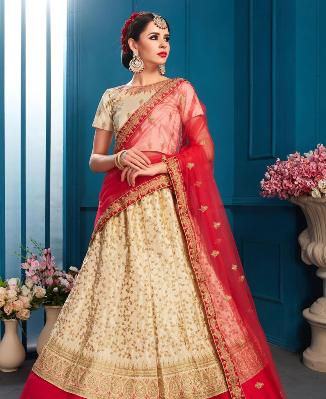Embroidered Satin Beige Circular Lehenga Choli Ghagra