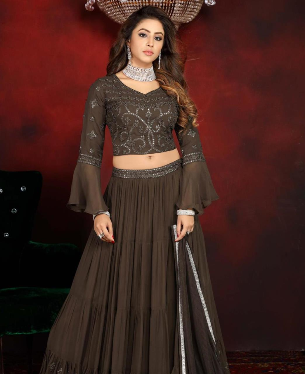 Embroidered Georgette Lehenga in Coffee