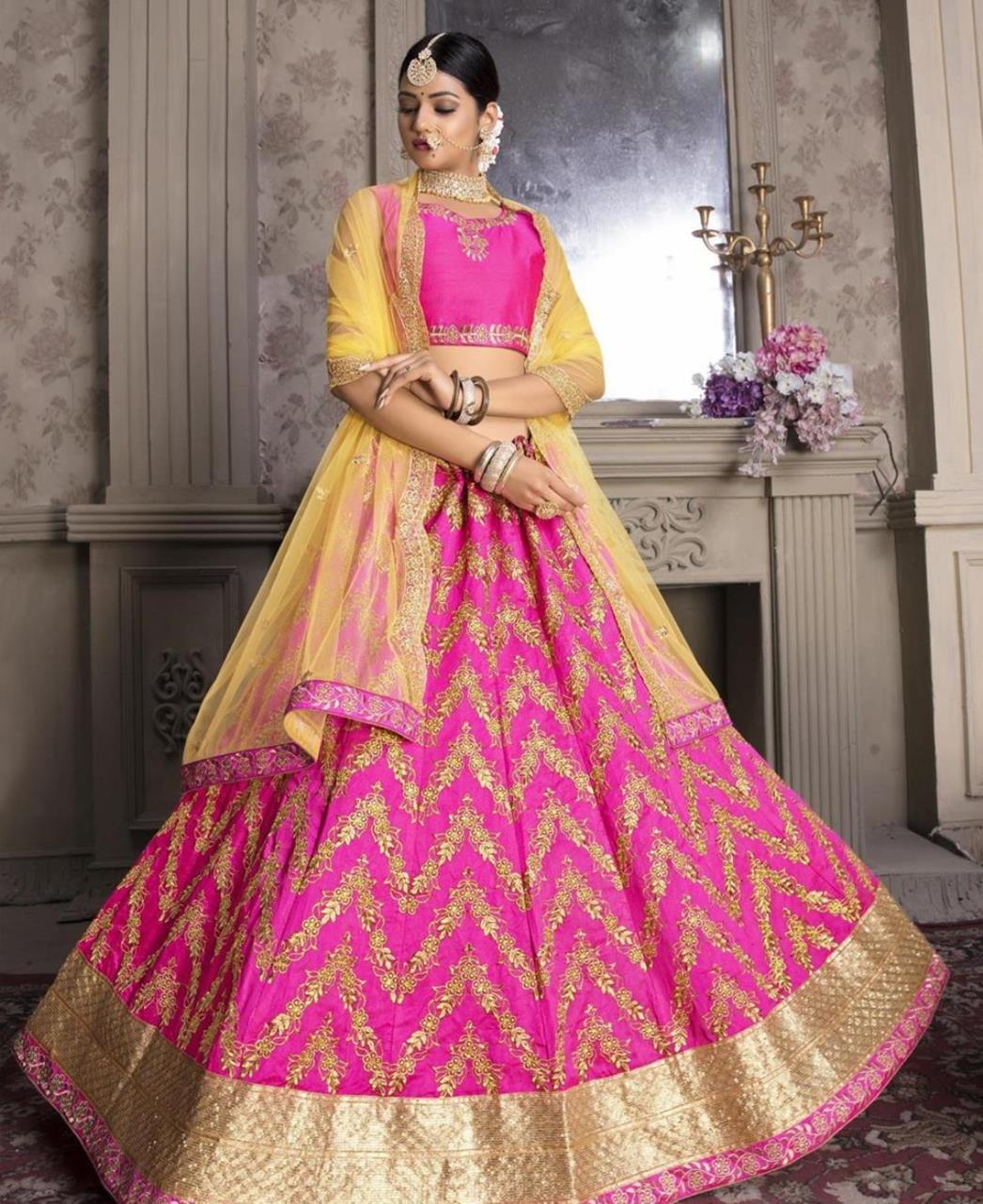 Stone Work Silk Lehenga in Rani Pink