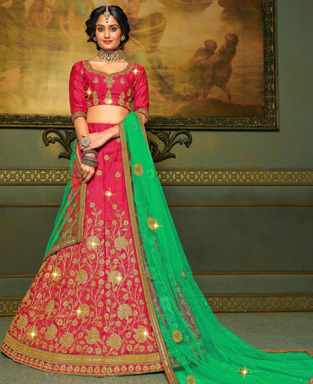 Embroidered Satin Lehenga in Pink
