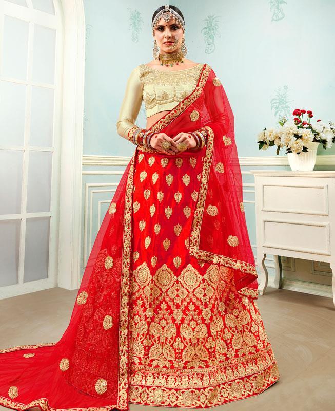 Embroidered Satin Red Circular Lehenga Choli