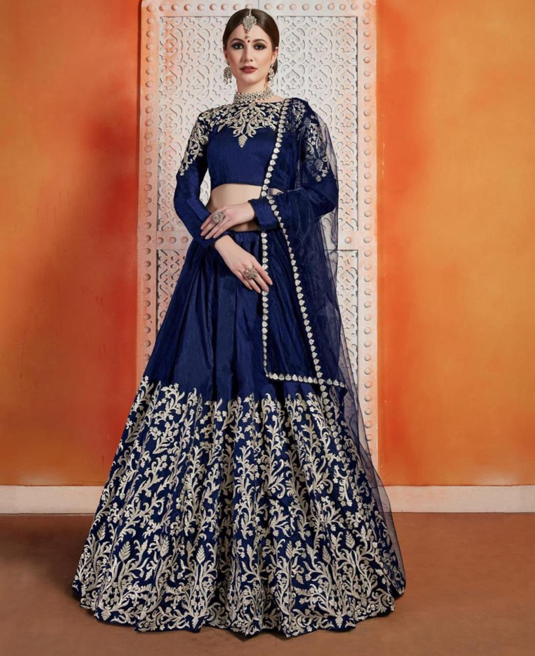 Embroidered Art Silk Navyblue Circular Lehenga Choli