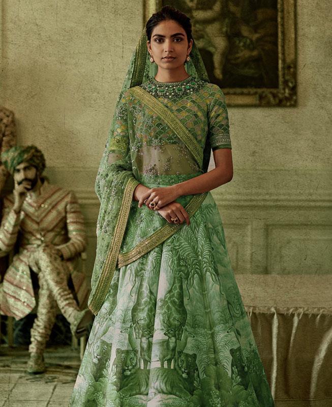 Printed Silk Green Circular Lehenga Choli