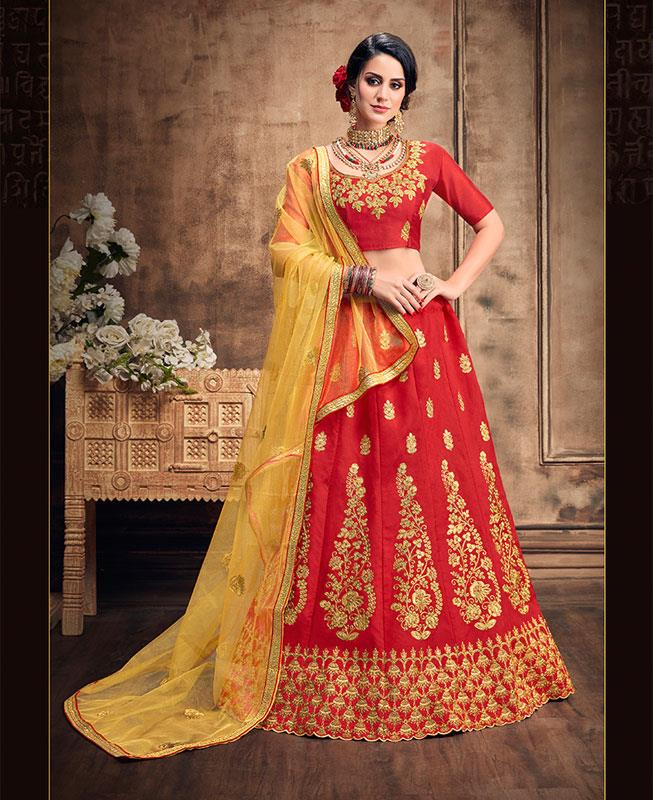 Zari Satin Lehenga in Red