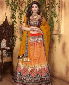 Printed Satin Lehenga in Orange