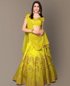 Sequins Bangalore Silk LimeGreen Circular Lehenga Choli