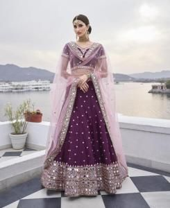 Embroidered Silk Lehenga in Wine