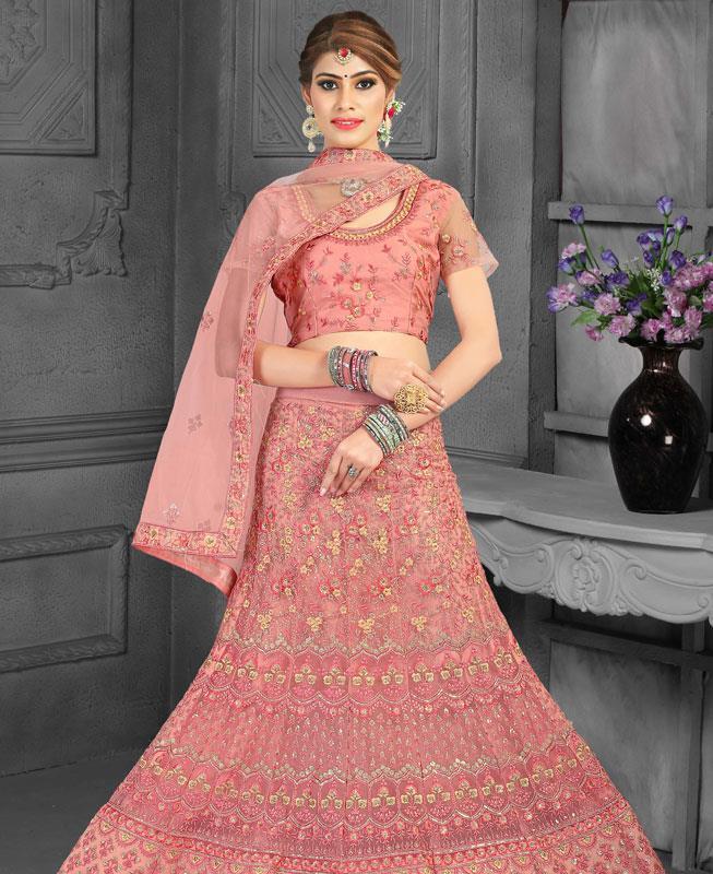 Satin Lehenga in Light Pink