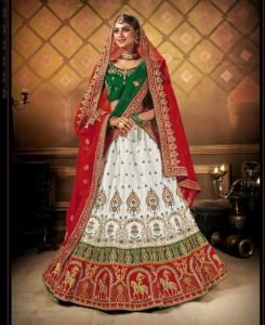 Zari Satin Lehenga in Green