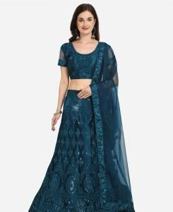 Net Lehenga in Jarman Blue
