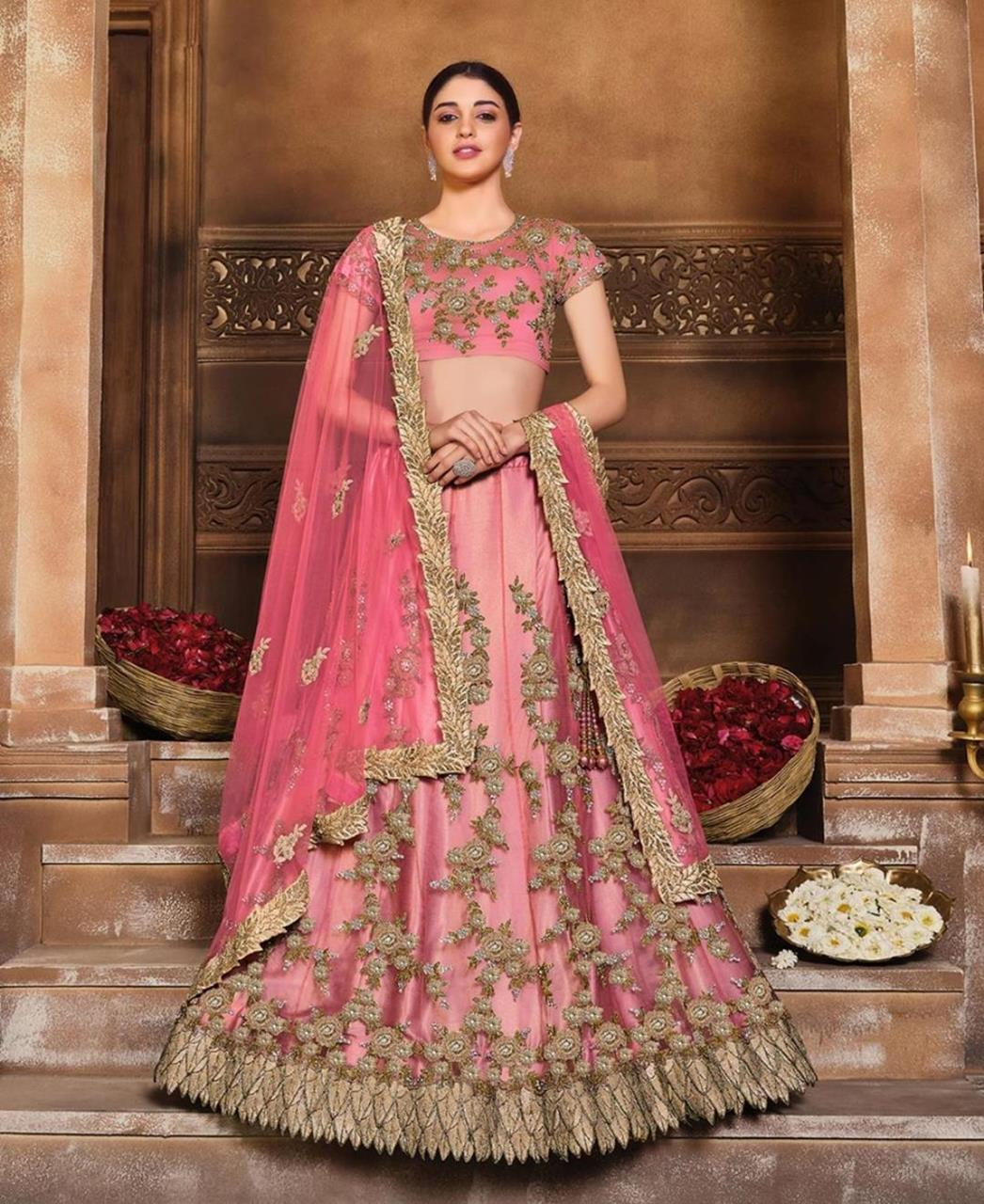 Sequins Satin Lehenga in Tomato Red