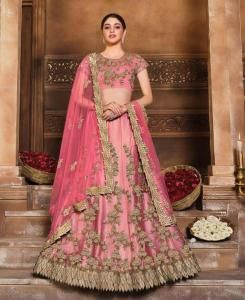 Sequins Satin Lehenga in Redish Pink