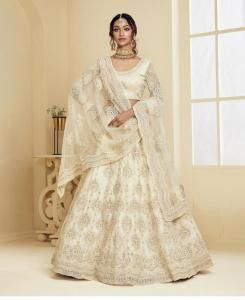 Stone Work Satin Lehenga in Off White