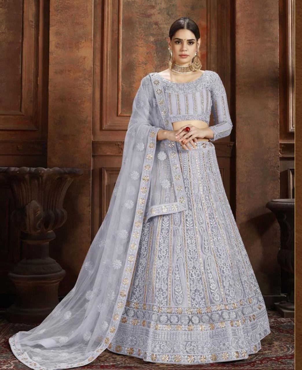 Embroidered Net Blue Circular Lehenga Choli