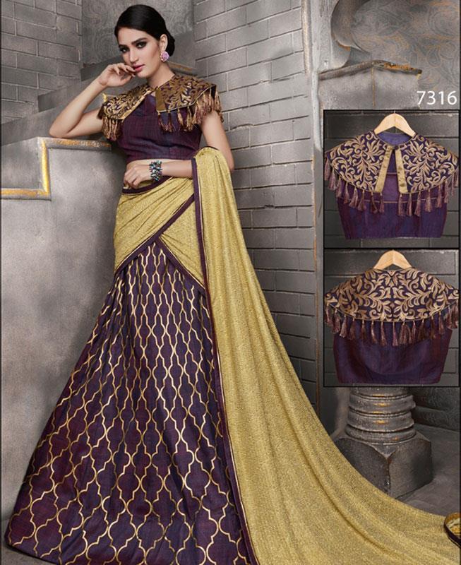Printed Silk Purple A Line Lehenga Choli Ghagra