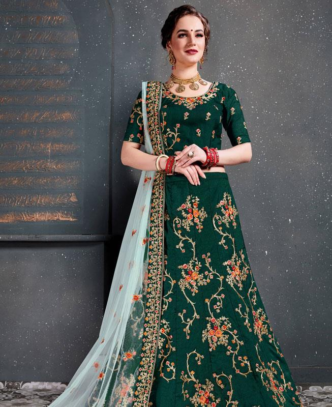 Thread Work Tafeta Green Circular Lehenga Choli