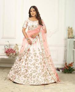 Embroidered Silk Lehenga in Baby Pink