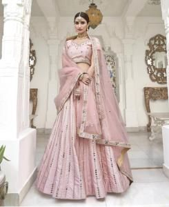 HandWorked Silk Lehenga in Pink