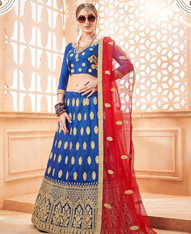 Zari Silk Blue Circular Lehenga Choli