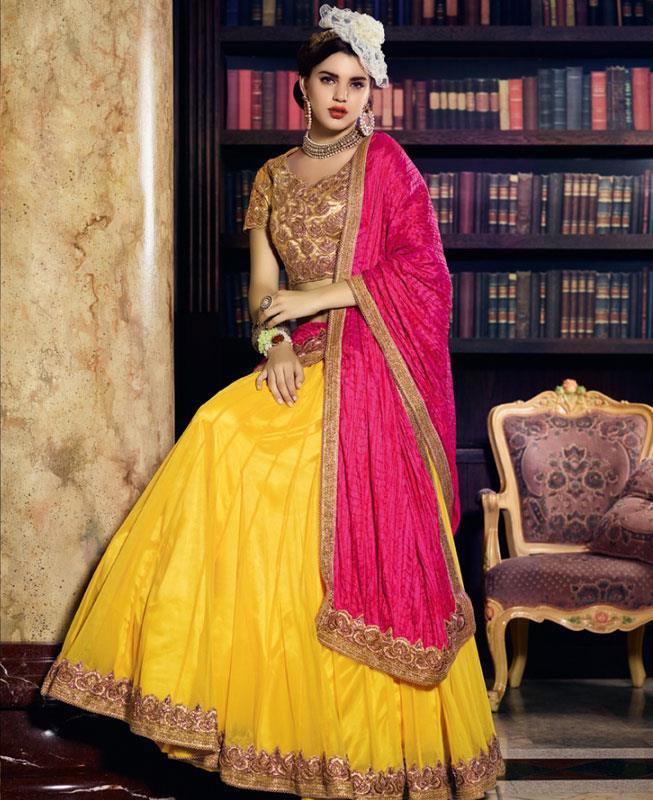 Plain Net Gold Long choli Lehenga Choli Ghagra