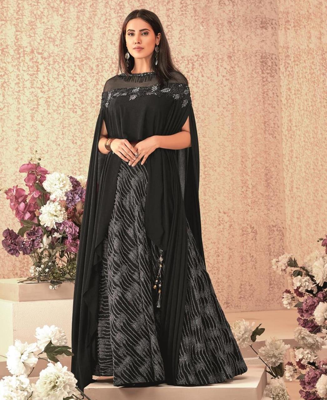 Embroidered Lycra Black Long choli Lehenga Choli