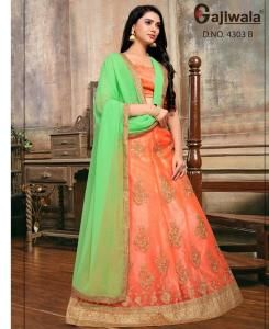 Embroidered Satin Orange Circular Lehenga Choli