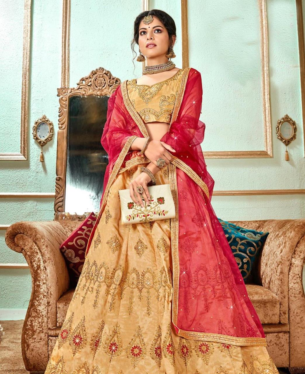 Stone Work Satin Lehenga in Gold