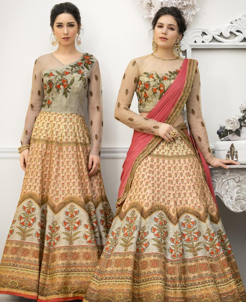 39984b17a4 Printed Banarasi Silk Pink Long choli Lehenga Choli Ghagra