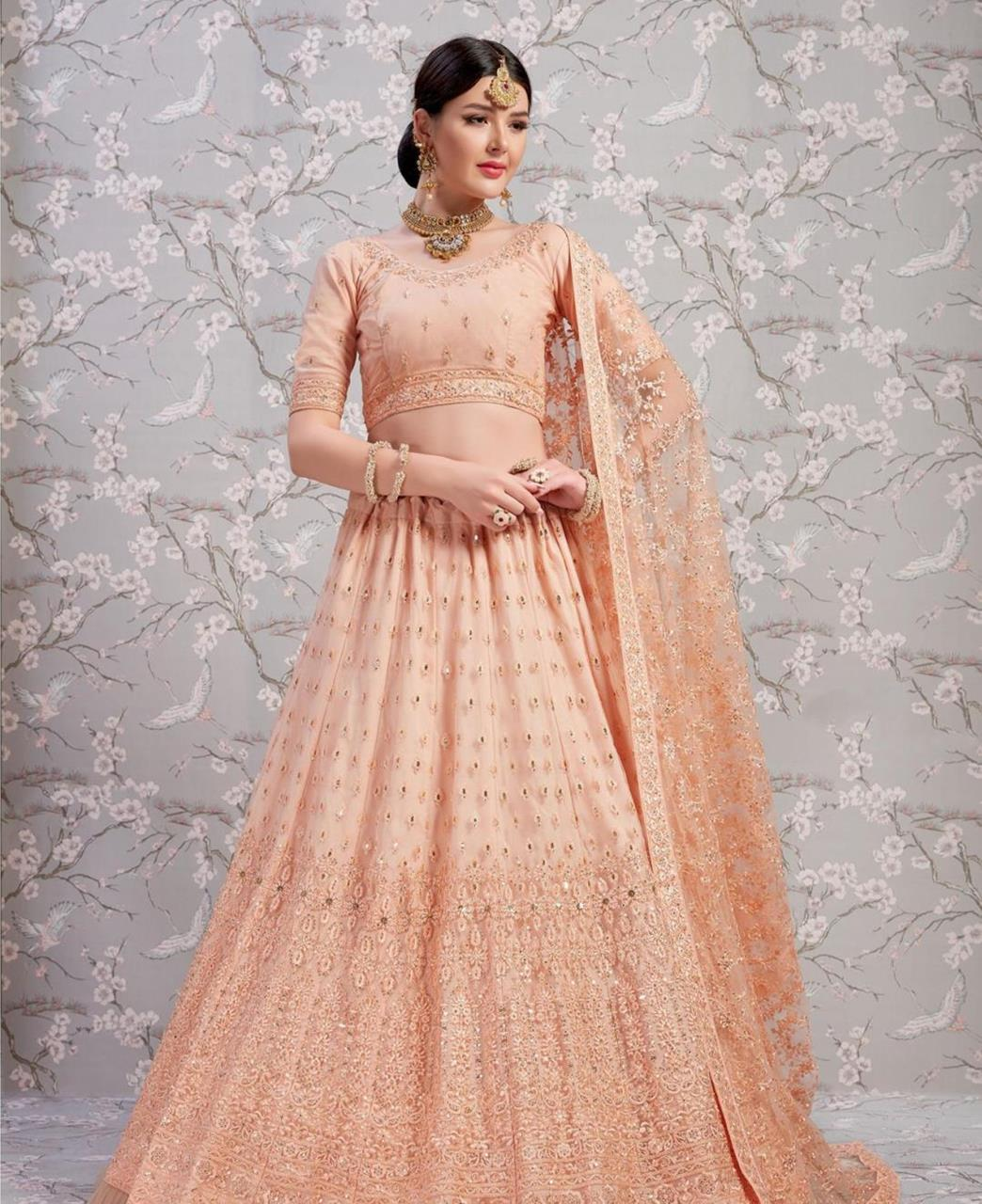 HandWorked Net Lehenga in Peach