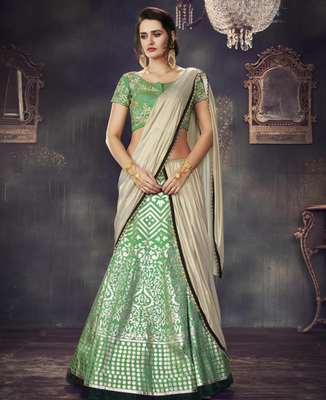 Printed Dupion Silk Green Circular Lehenga Choli Ghagra